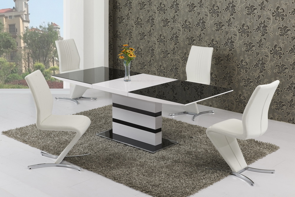 Small Extendable Black Glass High Gloss Dining Table And 4 Chairs Set EBay