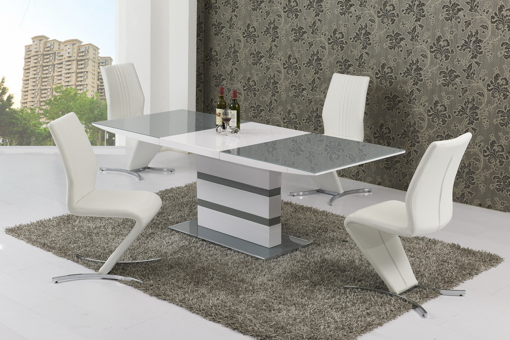small grey glass white high gloss extending dining table and 4 white