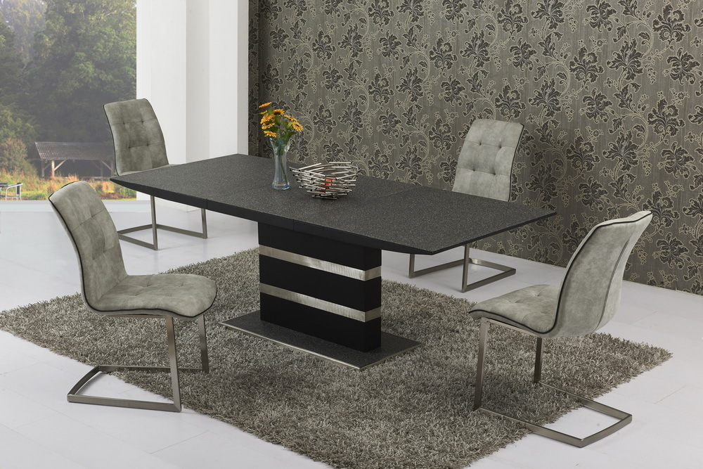 Small extending stone set glass dining table and 6 grey chairs for Small dining table for 6