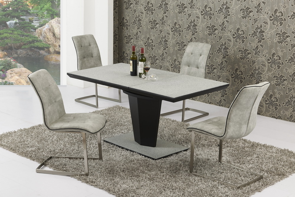 Small extending grey stone effect glass dining table and 4 for Small dinner table and chairs