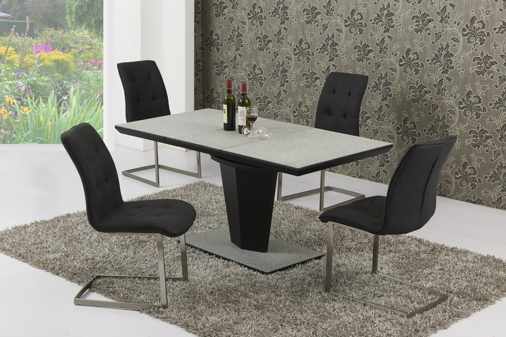 Large extendable grey stone effect glass dining table 6 for Extendable glass dining table