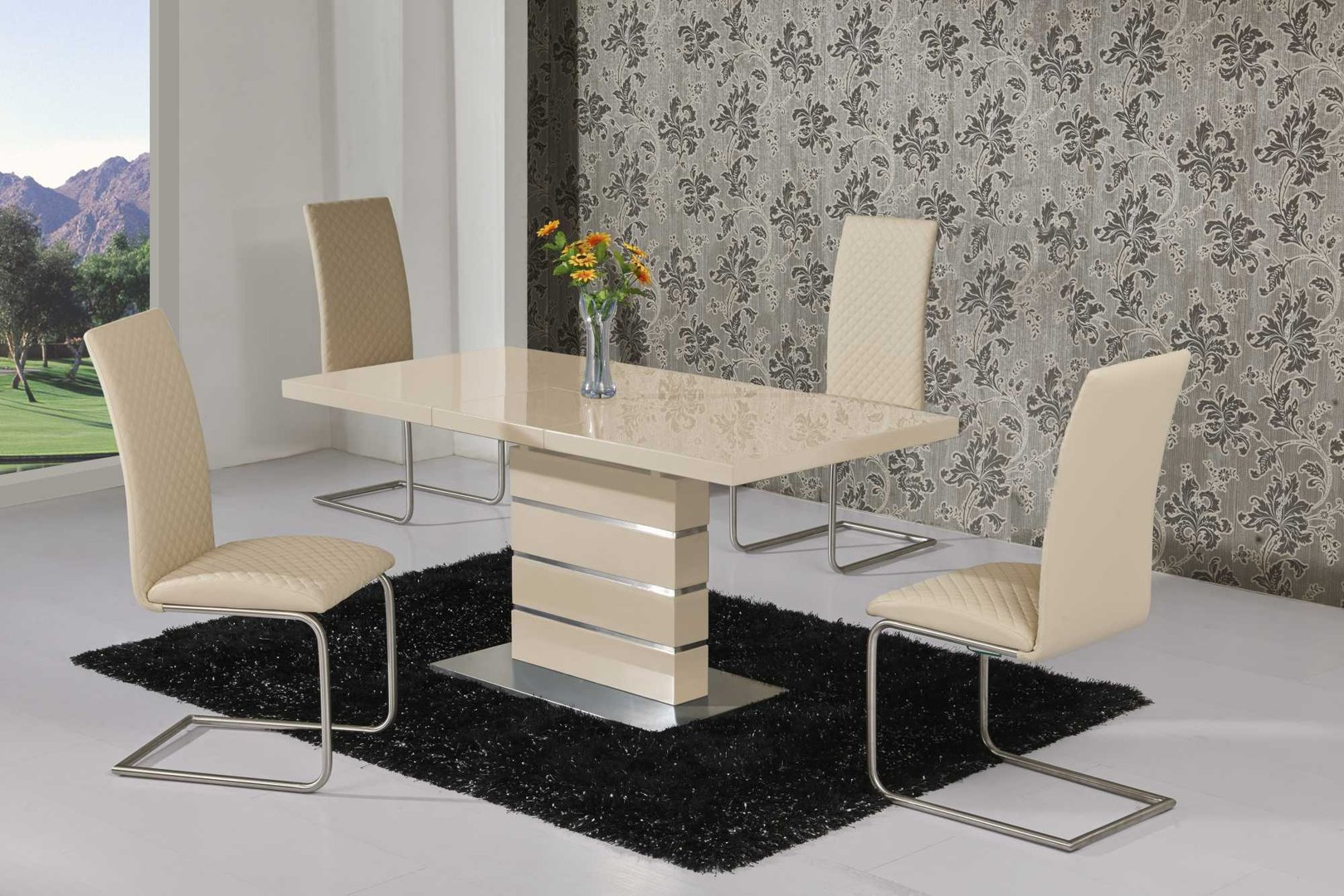 Extending cream high gloss dining table and 4 cream chairs for High table and chairs dining set