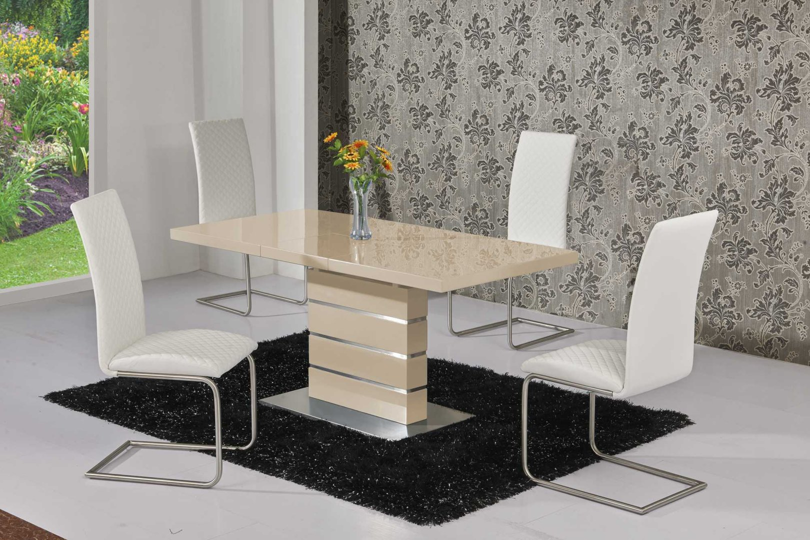 Extending Cream High Gloss Dining Table and 6 White Chairs