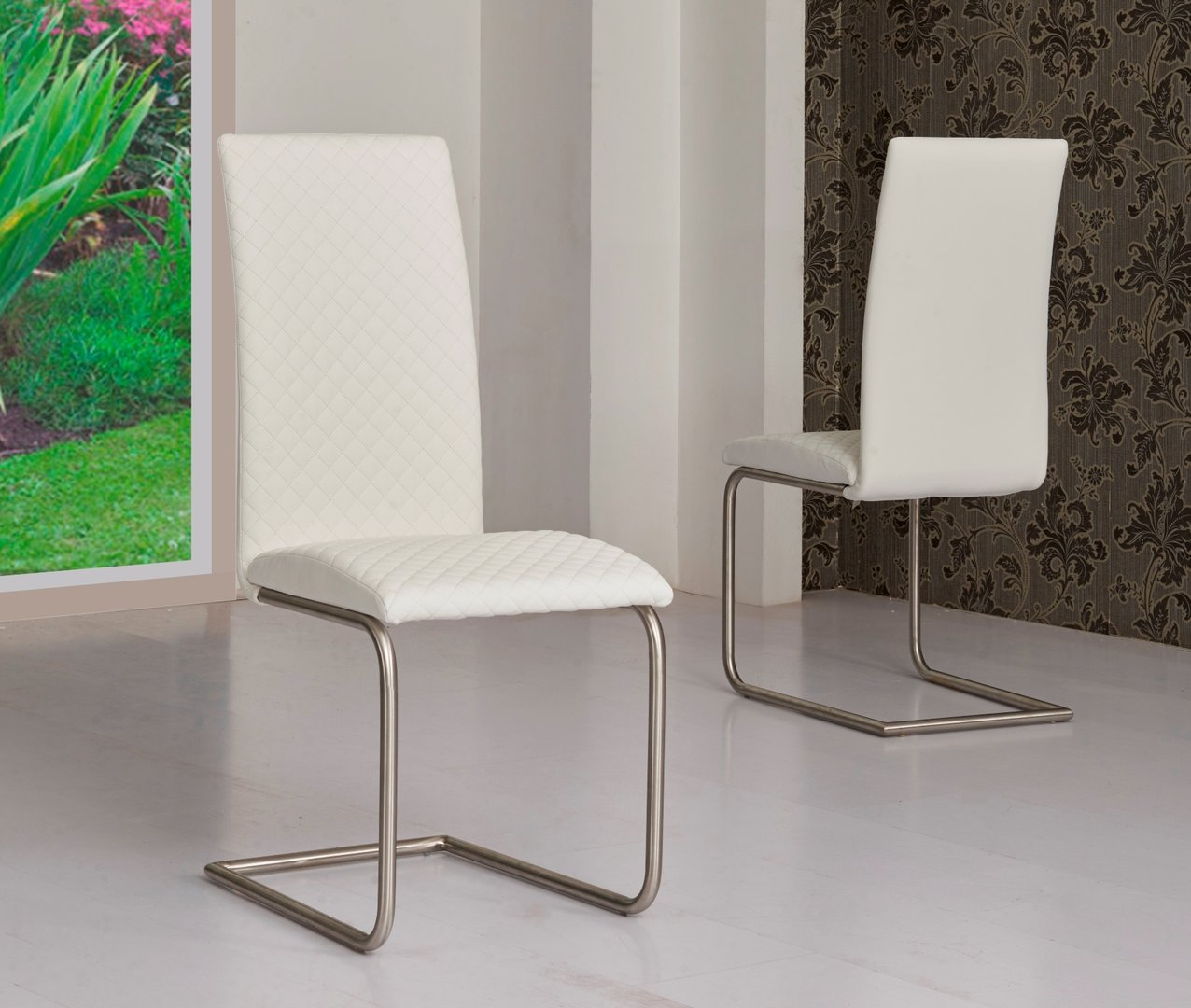 Extending cream high gloss dining table and 6 white chairs - White extending dining table and chairs ...