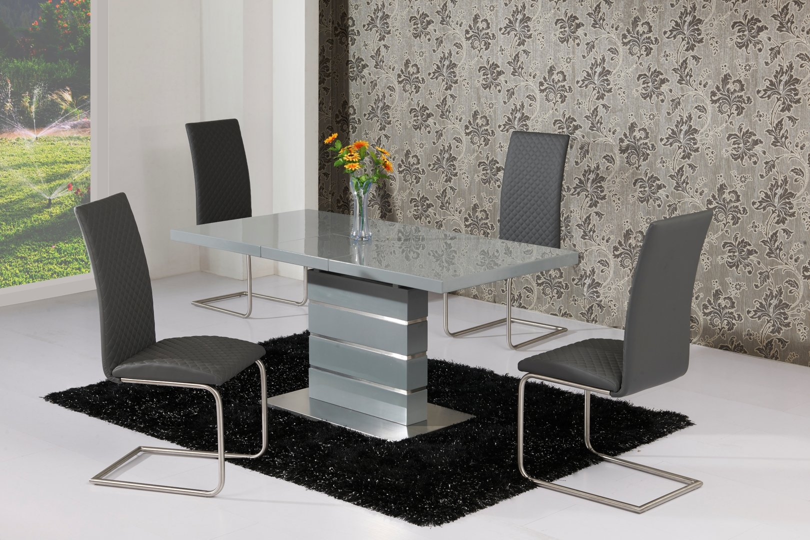 Extending grey high gloss dining table and 6 grey chairs for High table and chairs dining set