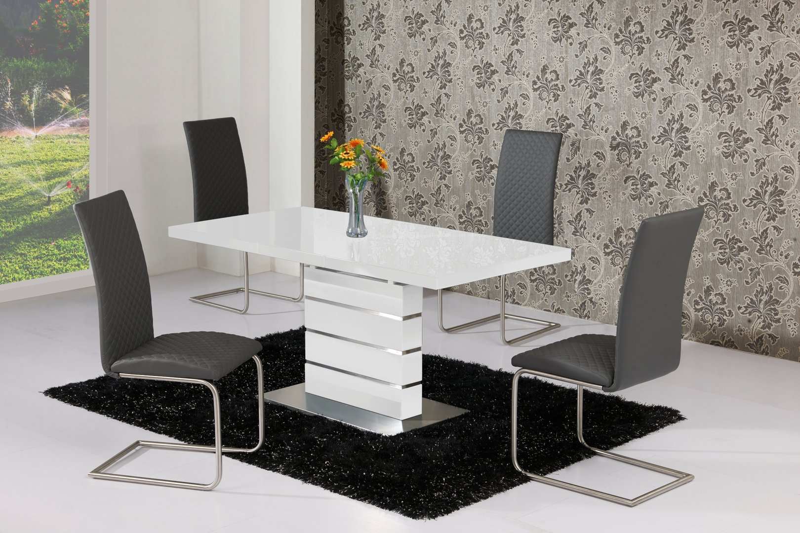 Extending white high gloss dining table and 4 grey chairs for White high gloss dining table