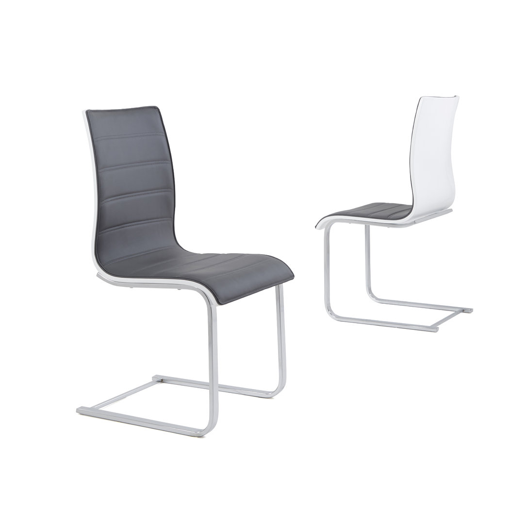 Grey Faux Leather Dining Chairs with High Gloss Backs Homegenies