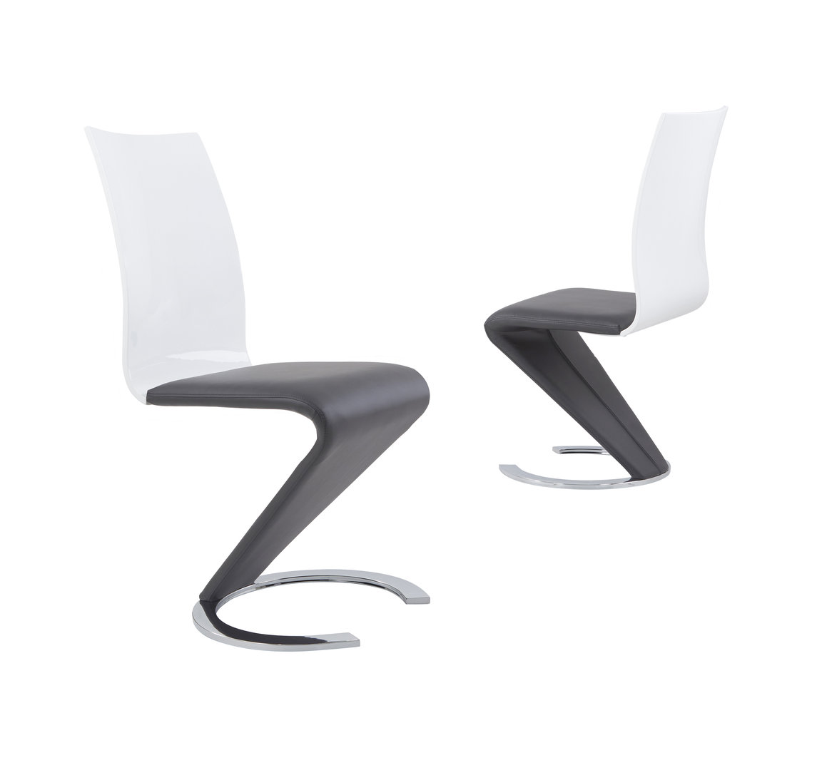 Grey faux leather dining chairs with white high gloss back for White high back dining chairs