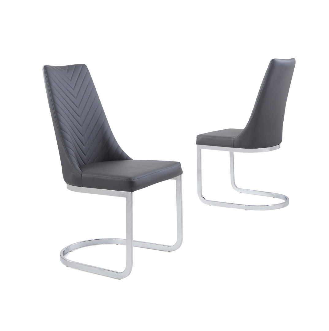 Grey Faux Leather Dining Chair With Curved Leg Homegenies