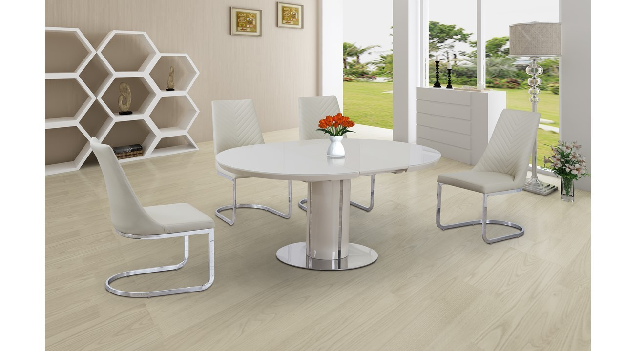 Extending Round Cream High Gloss Glass Dining Table And 4 Chairs