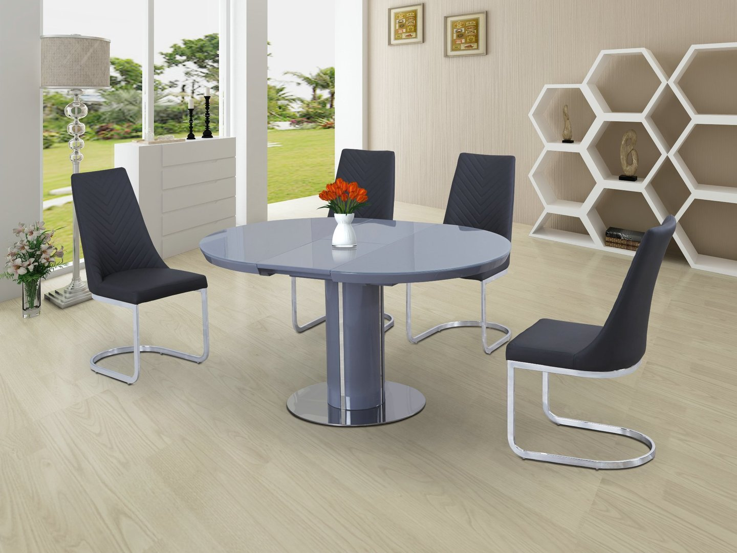 Round Grey Glass High Gloss Dining Table and 4 Chairs  : RoundtoOvalGreyGlasswithHighGlossBasediningtableand4GreyCurveChairs from www.homegenies.co.uk size 1440 x 1080 jpeg 196kB