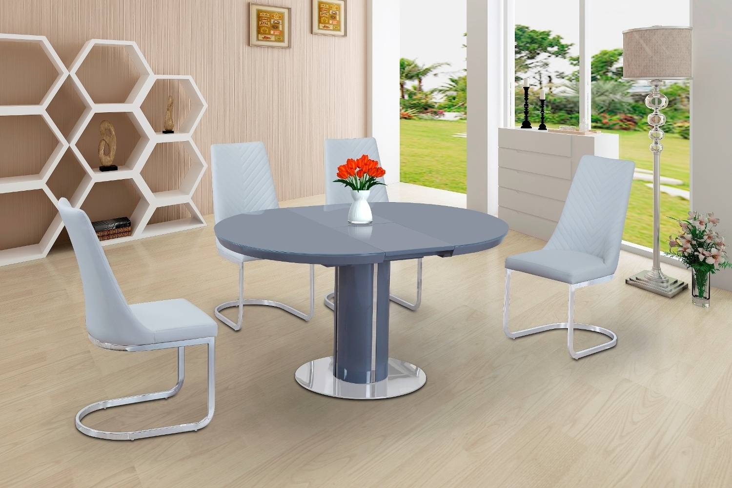 Round Grey Glass High Gloss Dining Table And 6 White Chairs