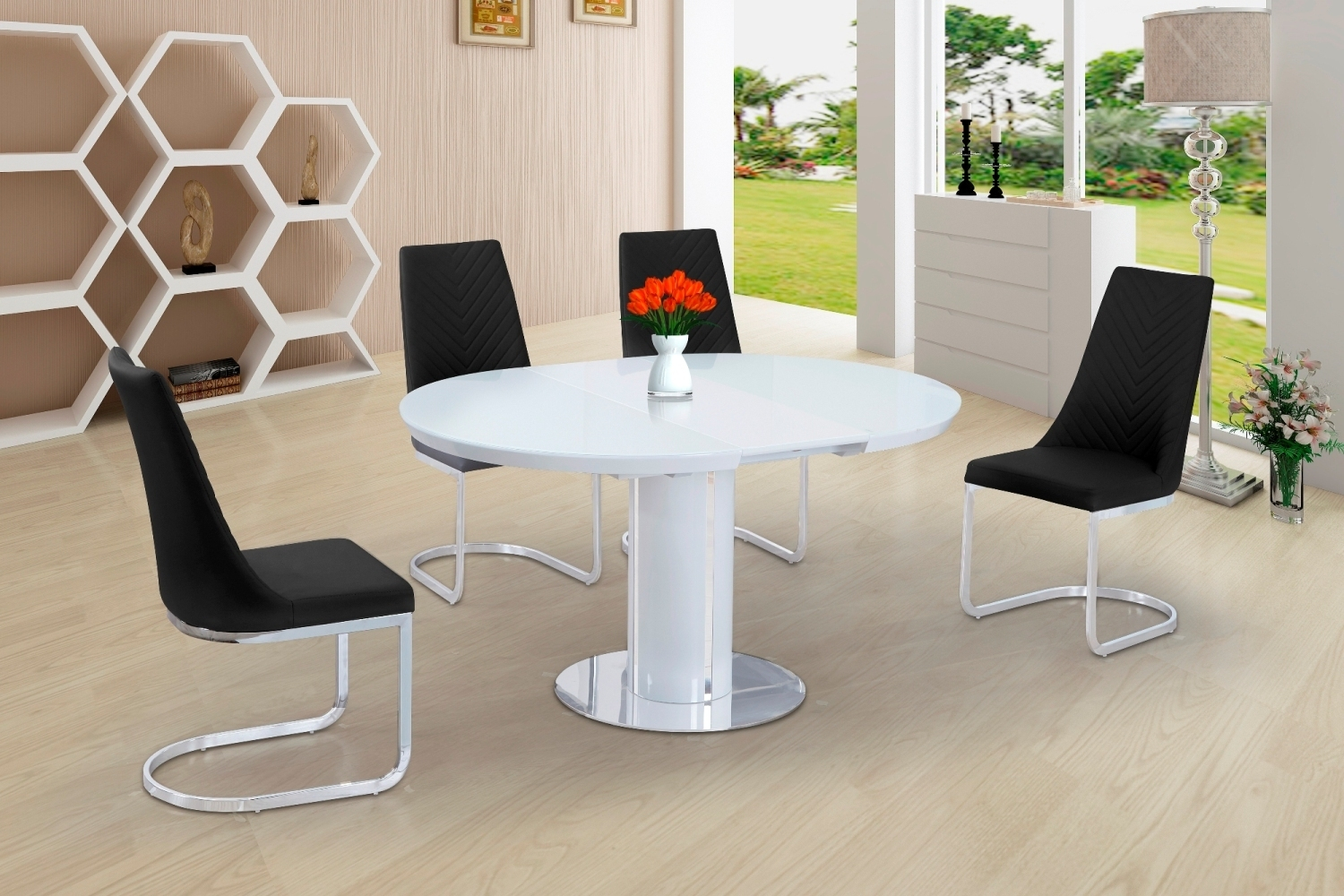 round white glass high gloss dining table and 6 black chairs