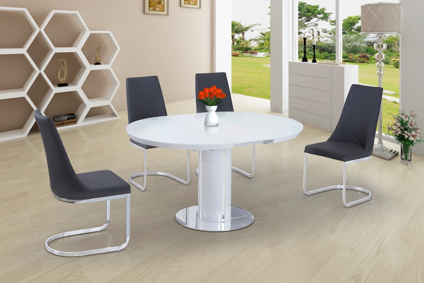 Round White Glass High Gloss Dining Table And 4 Grey Chairs