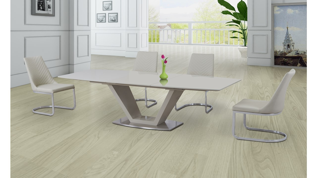 Cream Glass High Gloss Extending Dining Table And 6 Cream
