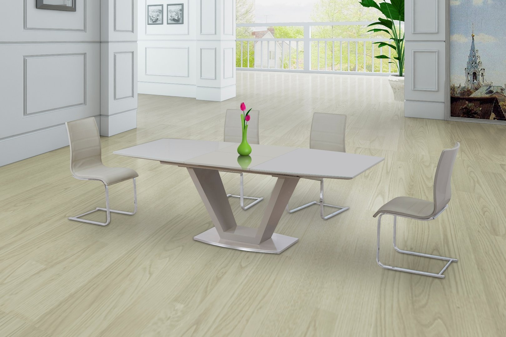 Cream glass high gloss extending dining table and 6 gloss for Cream dining room table and chairs