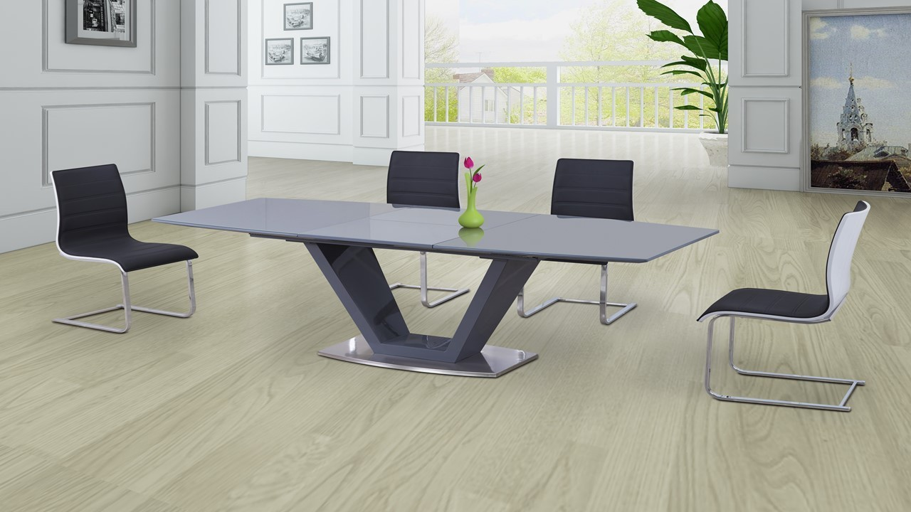 Grey Glass High Gloss Extending Dining Table And 6 Gloss