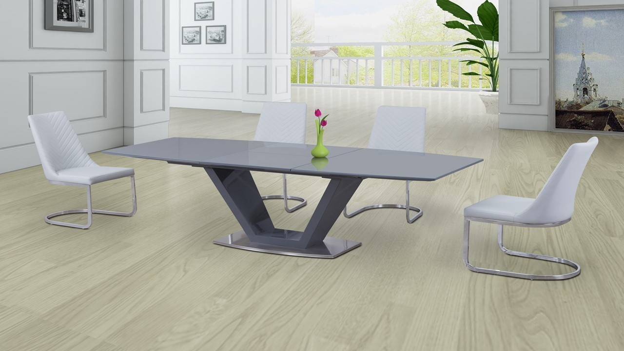 Grey Glass High Gloss Dining Table And 6 White Curve Chairs