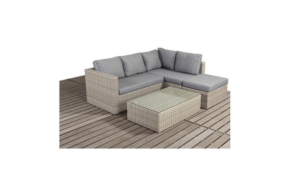 Rural Right Small Rattan Corner Sofa Set Homegenies