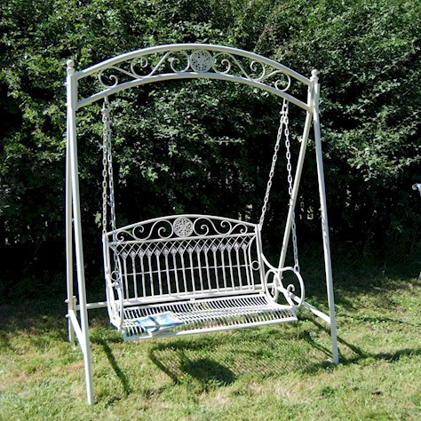 5bf8cf6a3f Cream Metal Garden Swing Bench - Homegenies