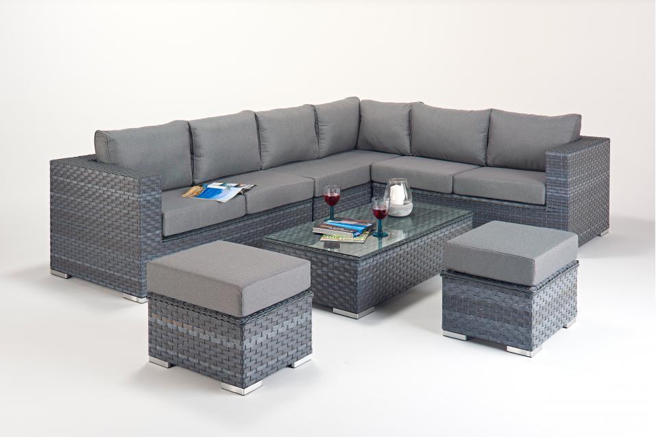 Platinum Large Right Grey Rattan Corner Sofa Set