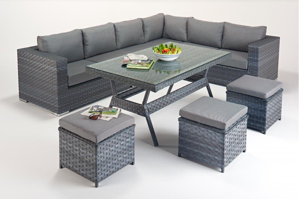 Platinum Right Grey Rattan Corner Sofa Dining Table