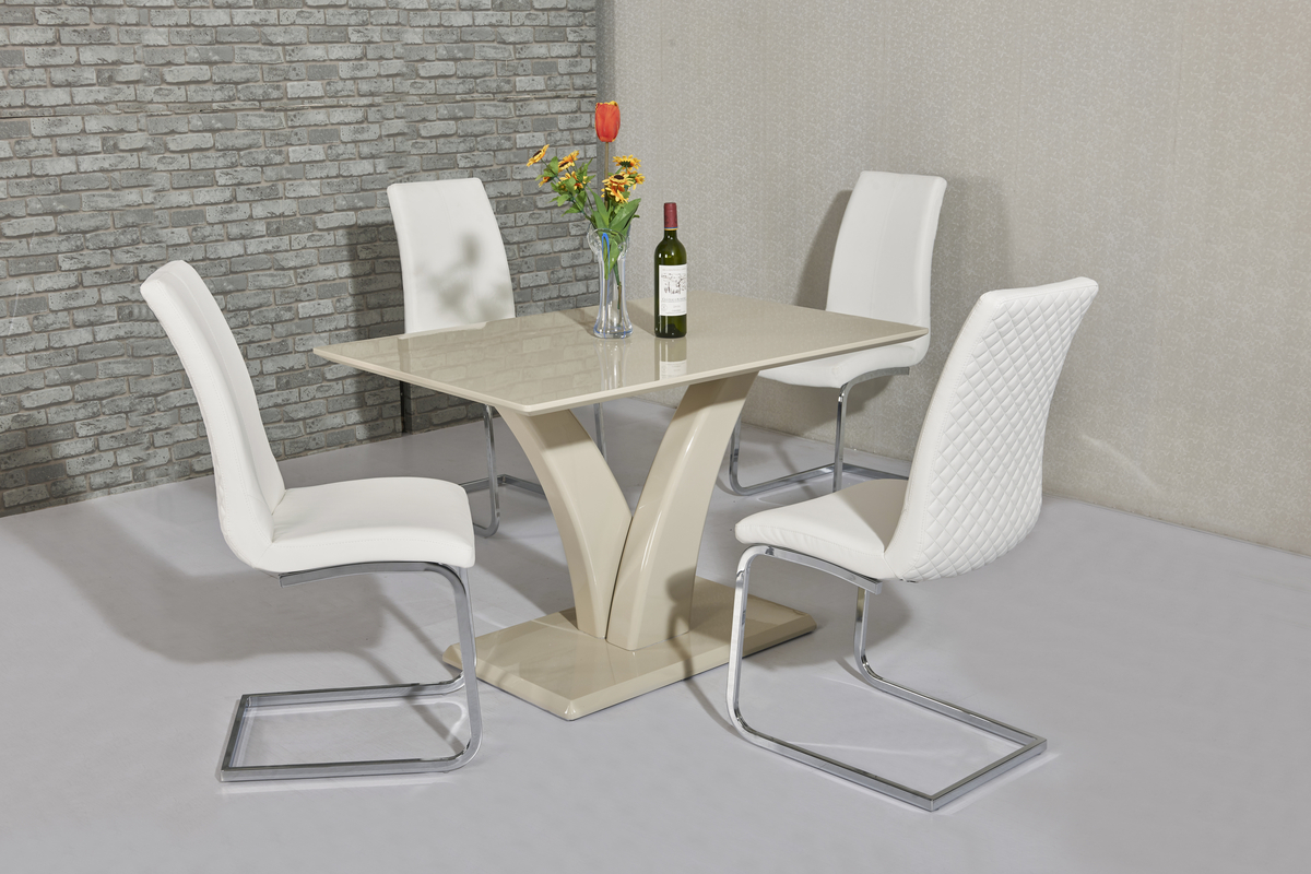 Cream High Gloss Dining Table And 4 White Chairs Homegenies