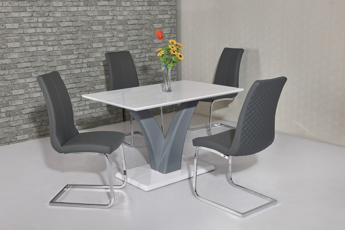White Amp Grey High Gloss Dining Table Amp 4 Grey Chairs