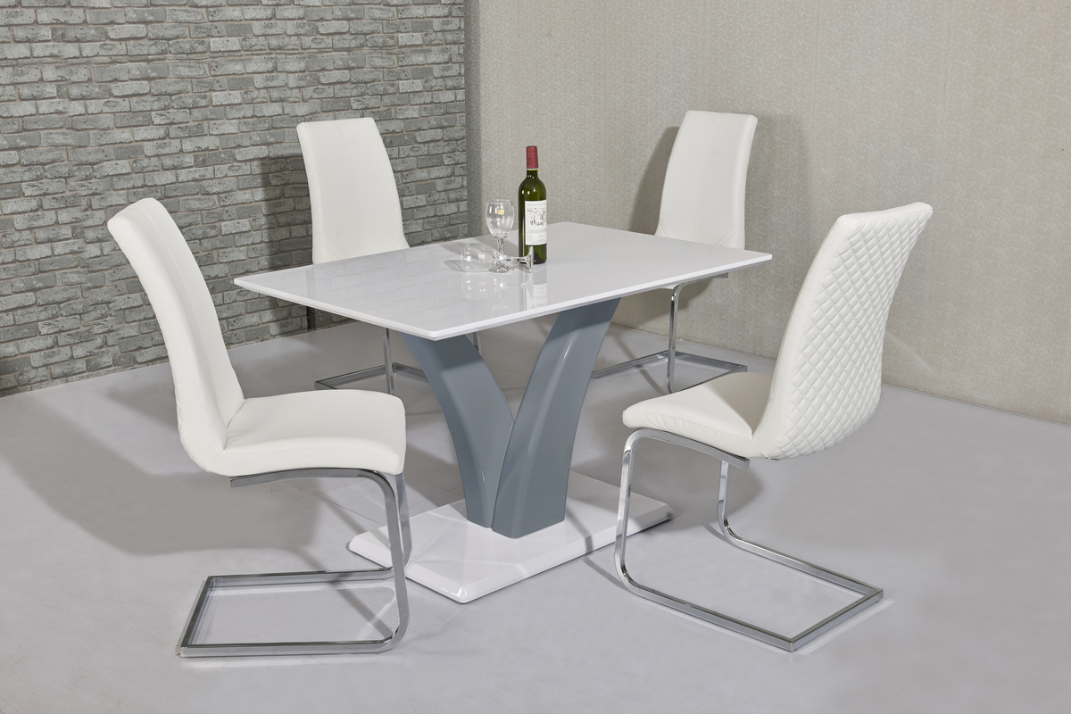 White Grey High Gloss Dining Table Amp 4 White Chairs