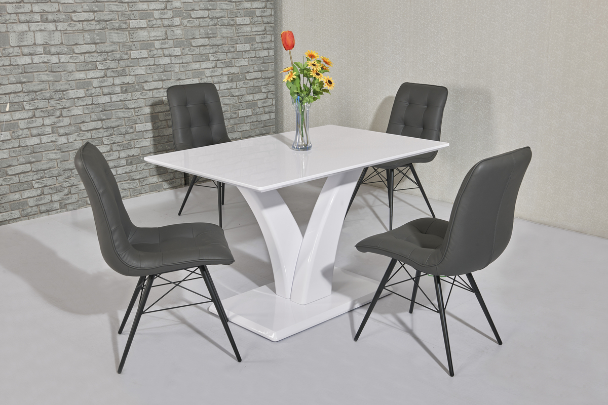 White High Gloss Dining Table Amp 4 Grey Padded Chairs