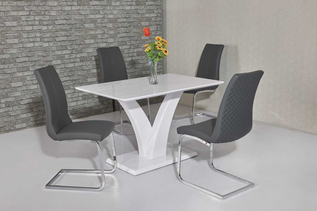 White Glossy Dining Table And 4 Grey Chairs Homegenies