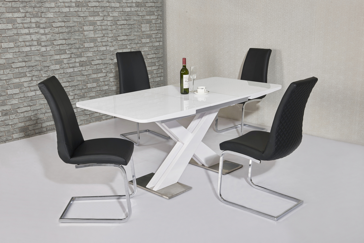120cm White High Gloss Dining Table Amp 4 Black Chairs