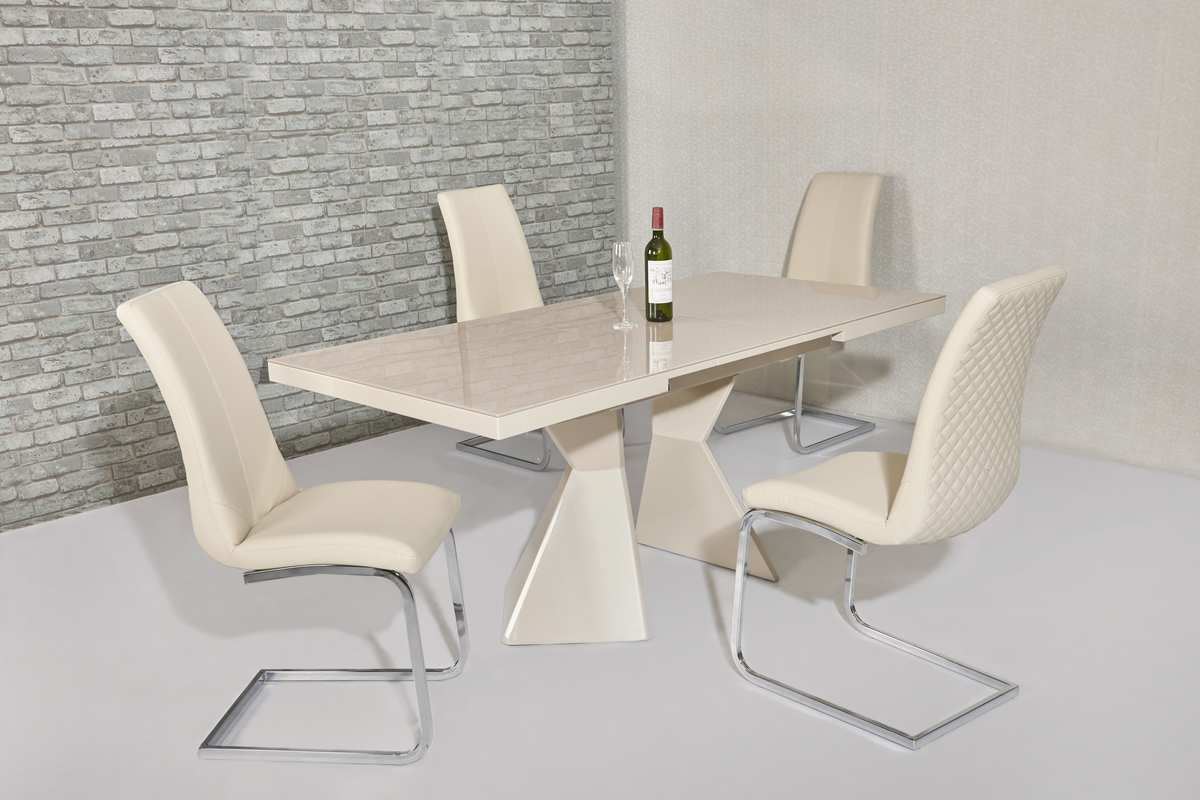 Extending Cream Glass Gloss Dining Table Amp 4 Chairs