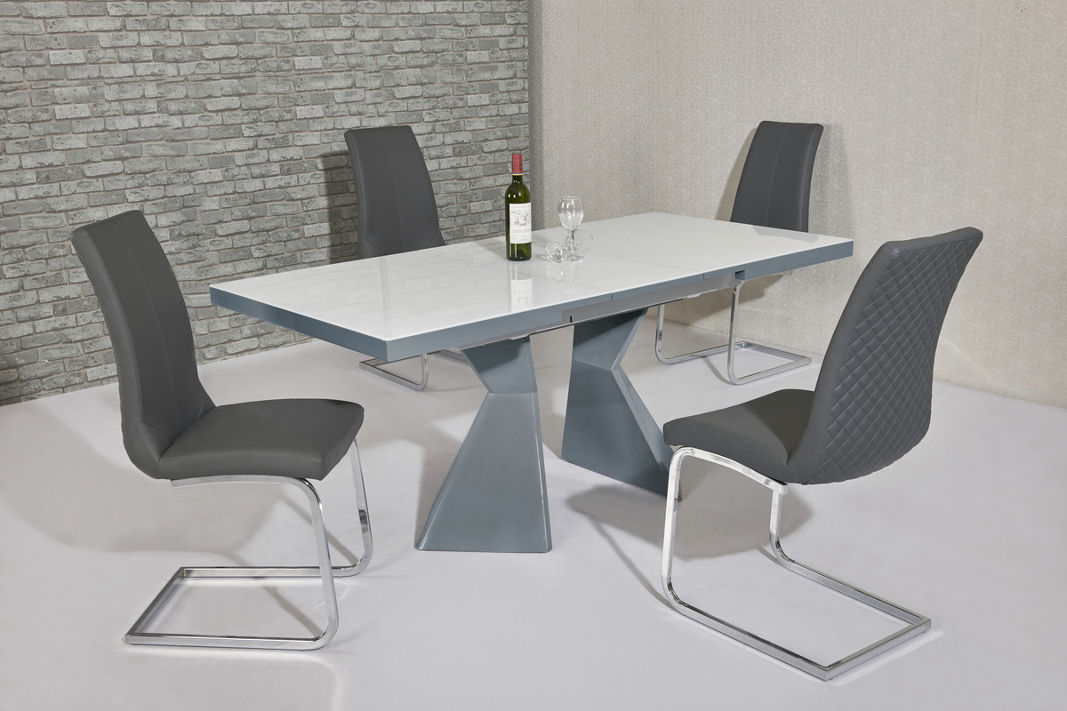 white glass grey gloss dining table 6 grey chairs homegenies. Black Bedroom Furniture Sets. Home Design Ideas