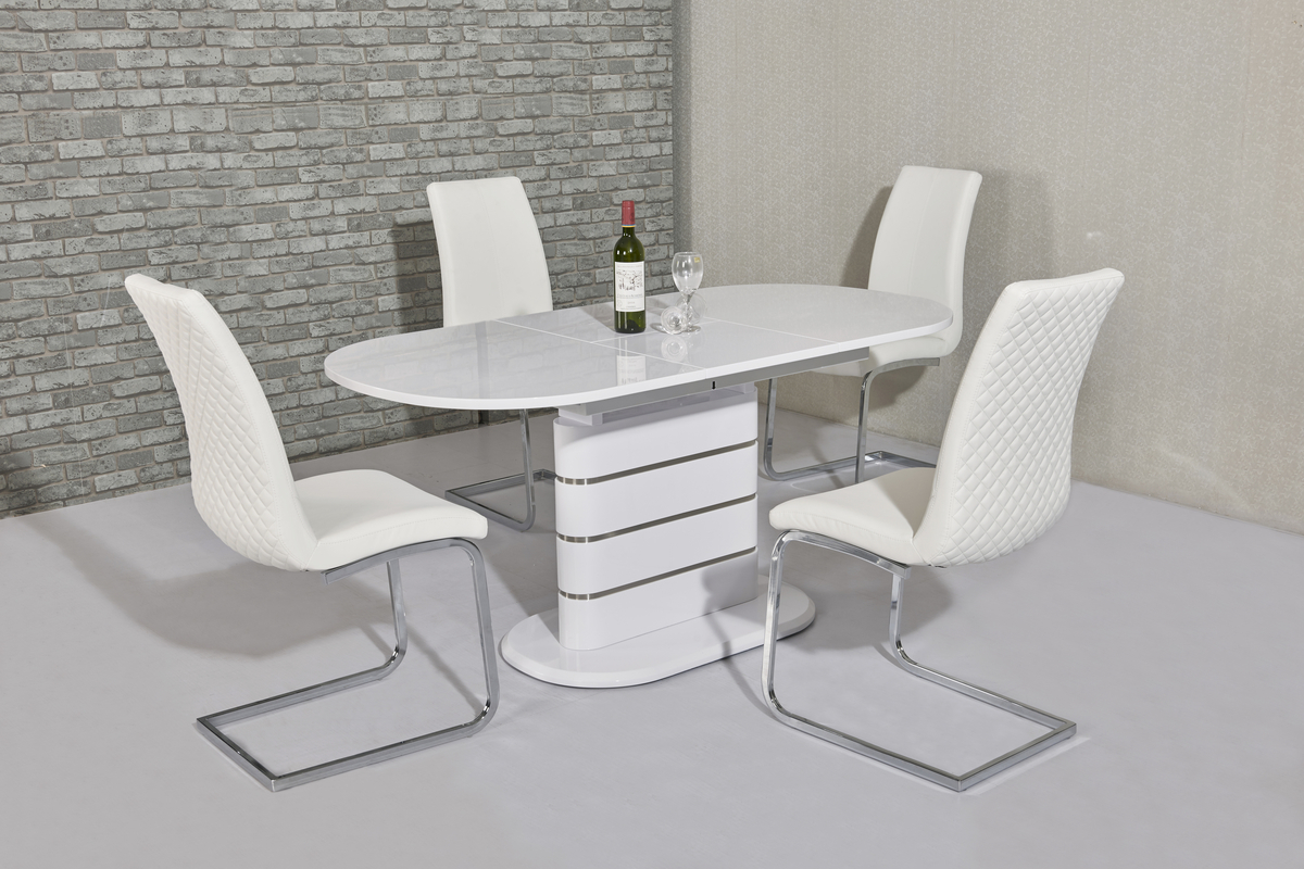 small oval white gloss dining table 4 white chairs homegenies. Black Bedroom Furniture Sets. Home Design Ideas