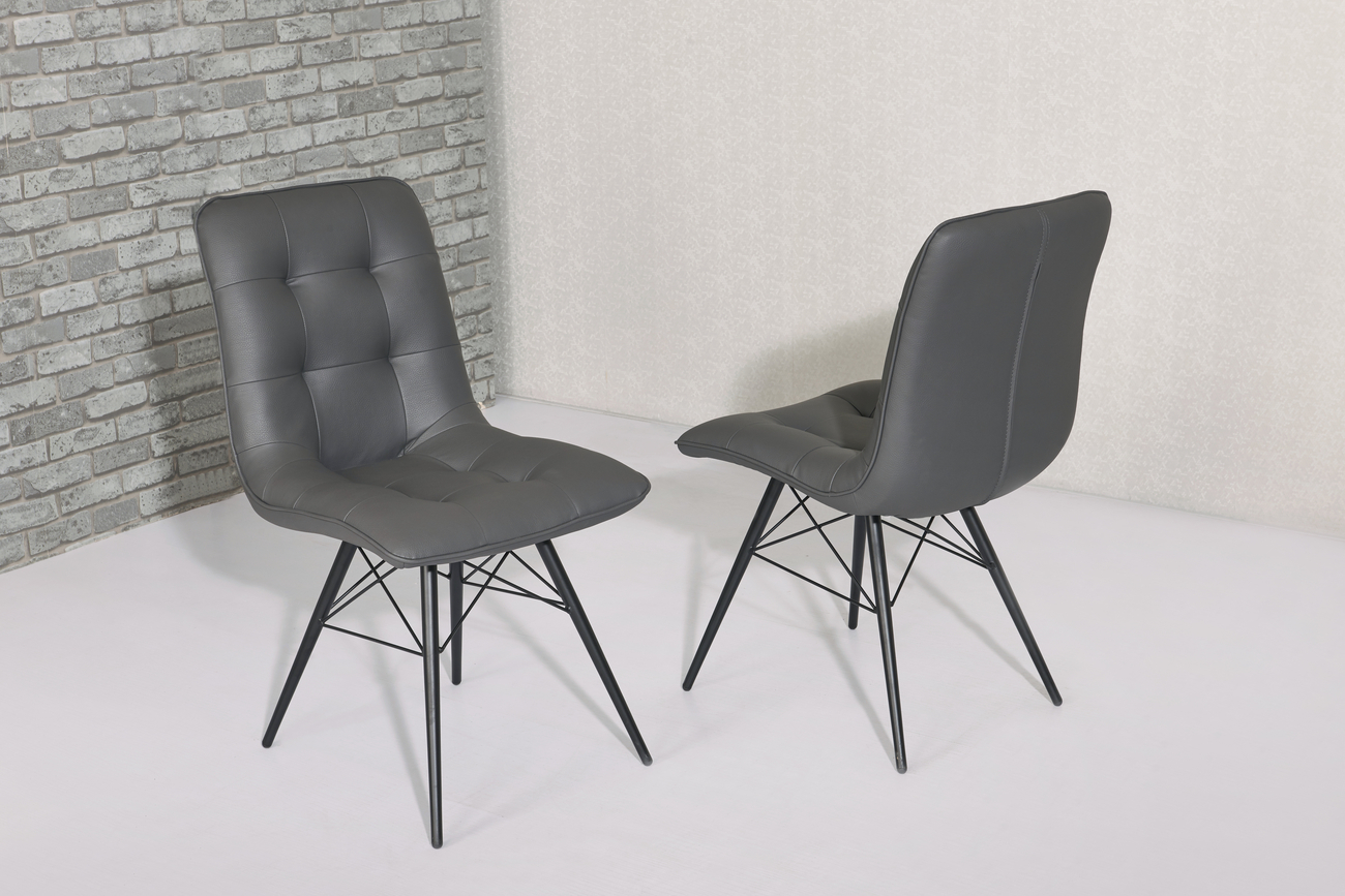modern grey faux leather dining chairs homegenies. Black Bedroom Furniture Sets. Home Design Ideas