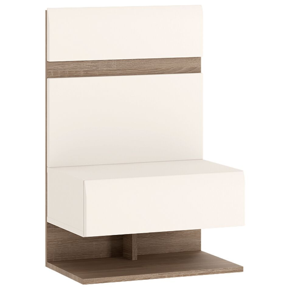 White Gloss 1 Drawer Bedside Cabinet Bed Extension