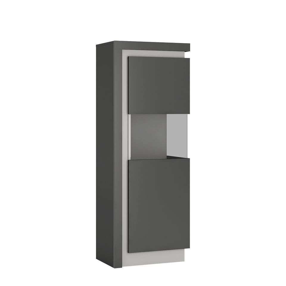 Modern Grey High Gloss Glass Display Cabinet Rh Homegenies
