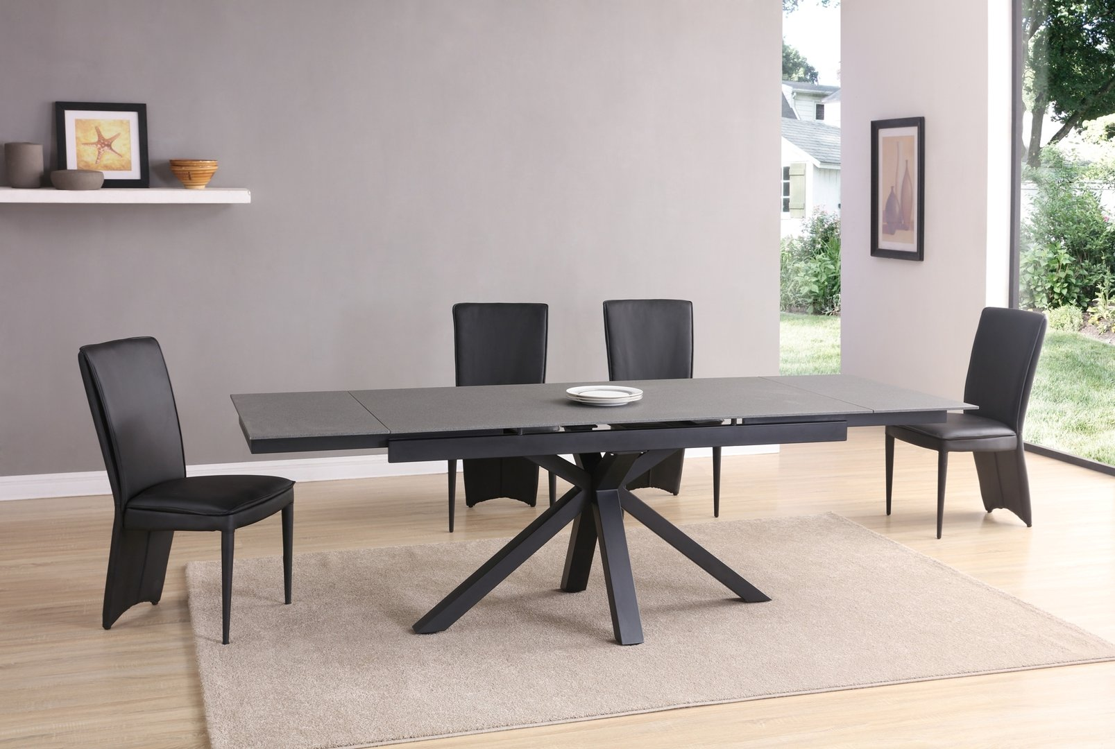 Black Amp Grey Stone Glass Dining Table And 10 Chairs
