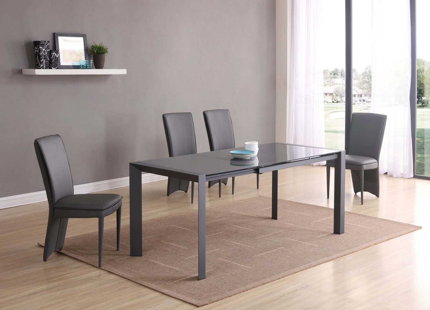 Extending matt grey glass dining table and 6 grey chairs