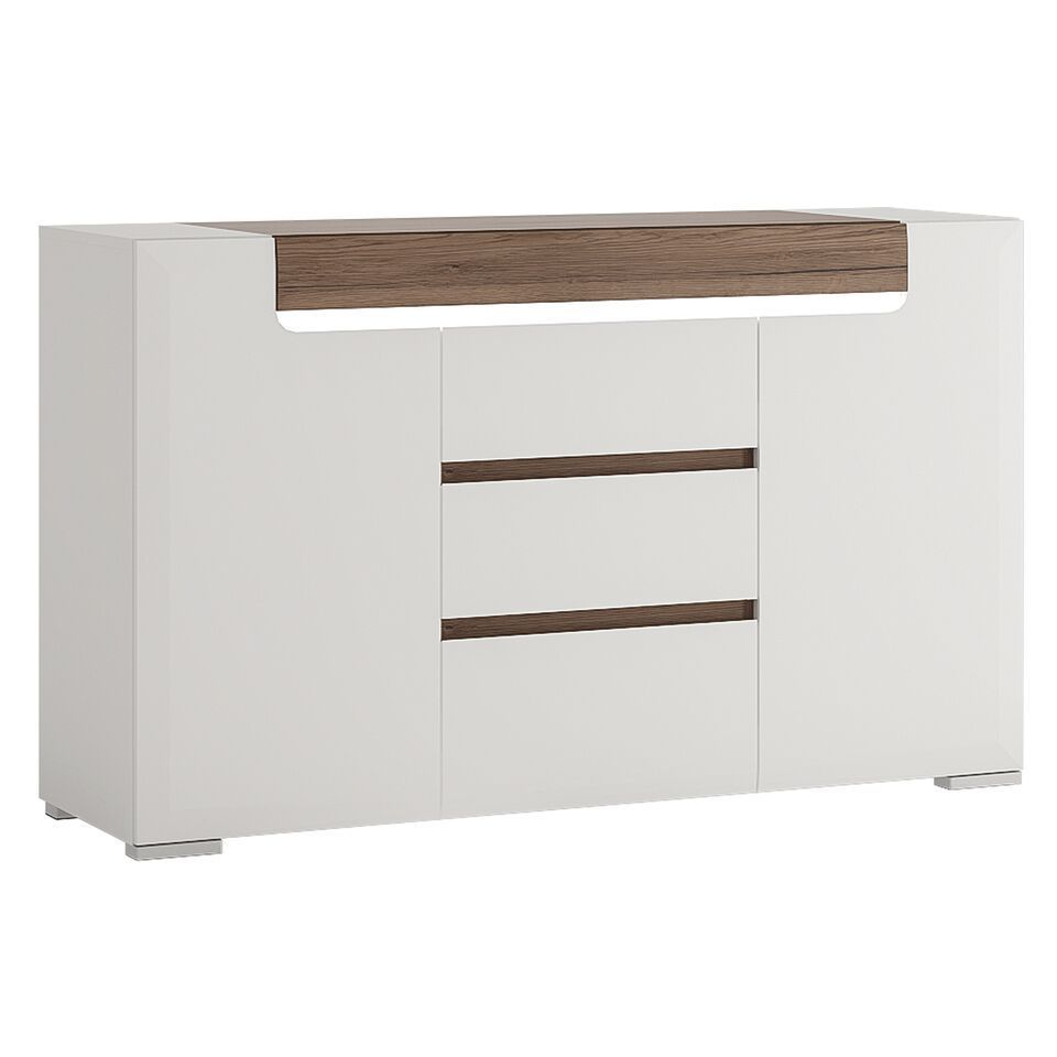 White Gloss 2 Door 3 Drawer Sideboard With Oak Effect