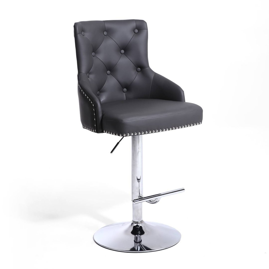 Dark Grey Leather Match Bar Stool With Button Back