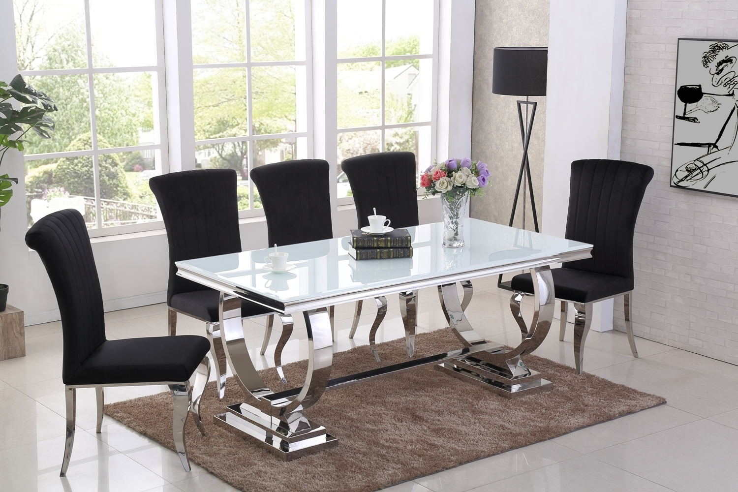 Chrome And White Glass Dining Table 6 Black Chairs Homegenies