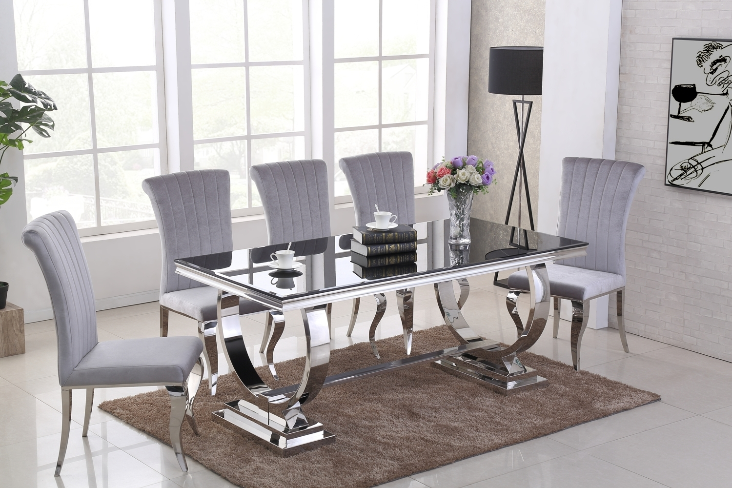 Black Glass Dining Table And 6 Grey Velvet Chairs Homegenies