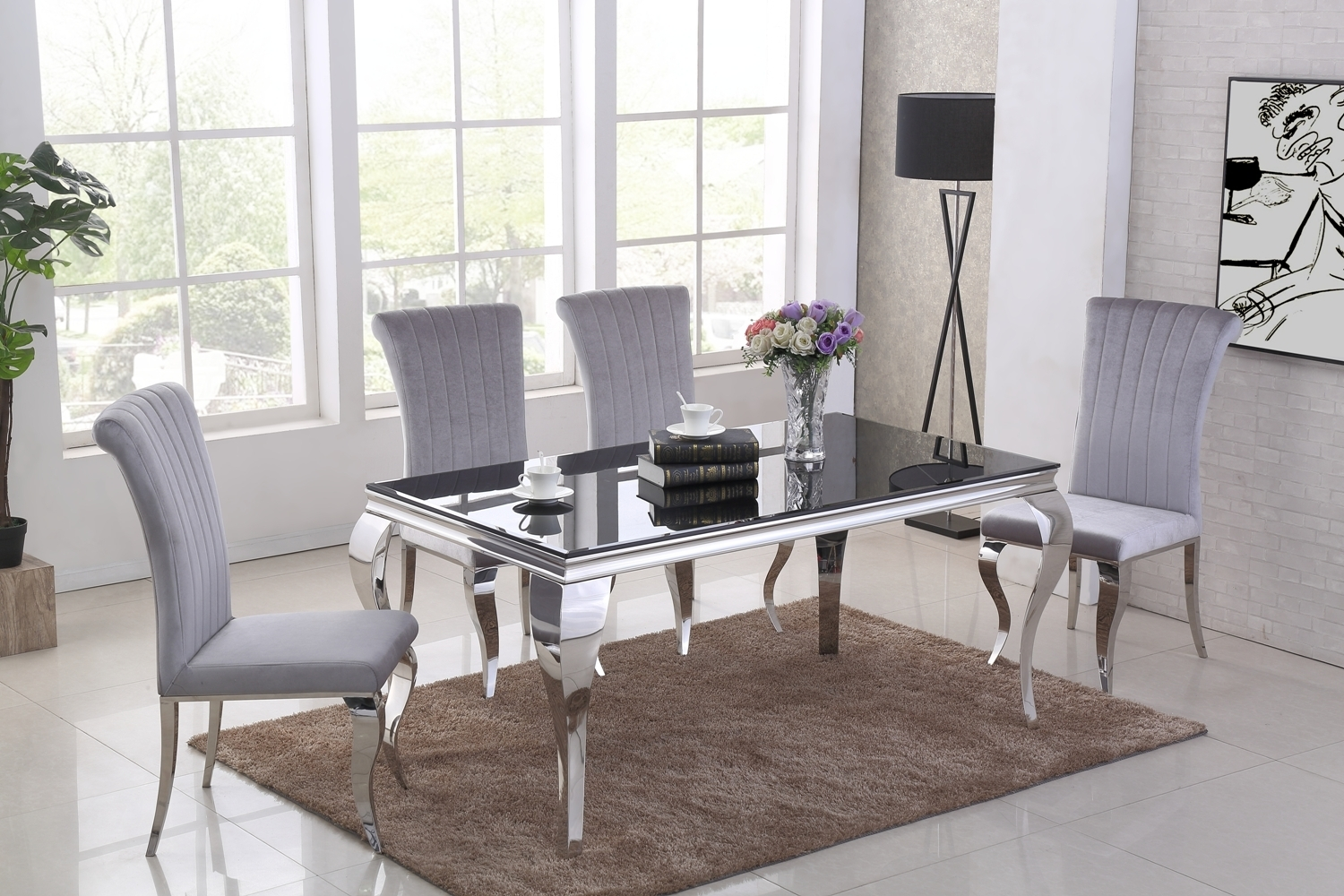 160cm Black Glass Dining Table Amp 6 Grey Velvet Chairs