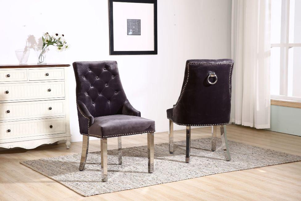 Knocker Grey Velvet Dining Chair With Chrome Legs Homegenies