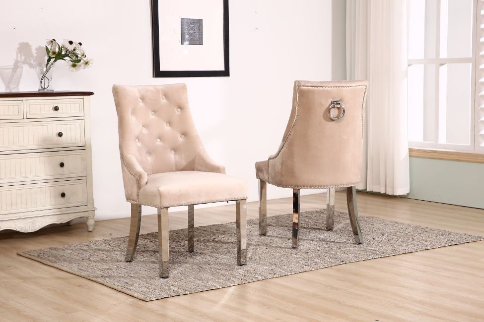 Knocker Mink Velvet Dining Chair With Chrome Legs Homegenies