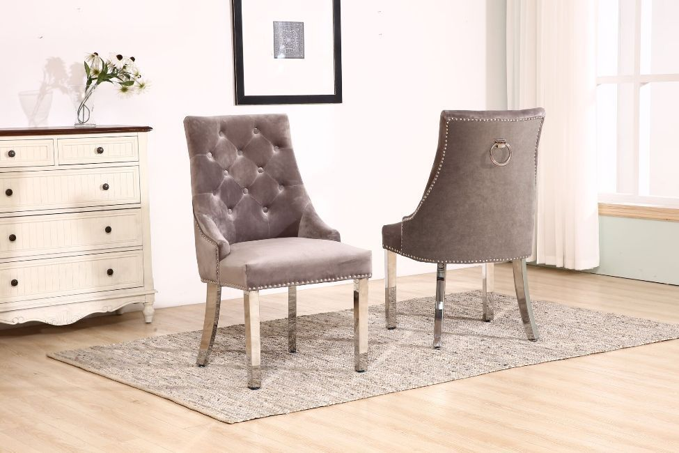 Knocker Silver Velvet Dining Chair With Chrome Legs
