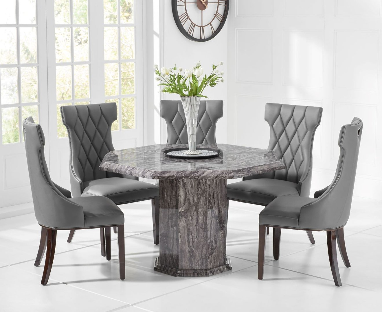 8 Seater Dark Wood Dining Table And Chairs