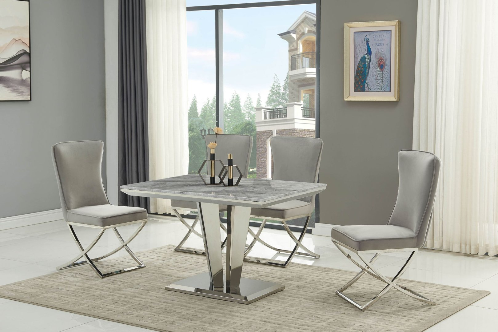 120cm Grey marble dining table with 4 grey chairs - Homegenies